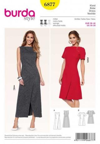 Kleid – Wickeleffekt – interessante Nahtführung, Gr. 36 - 46, Schnittmuster Burda 6877