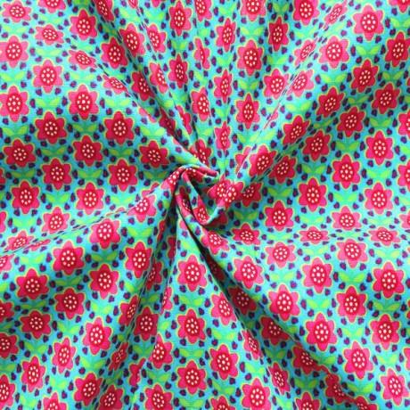 Baumwolle Popeline Blumen Multicolor