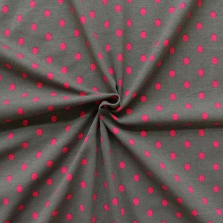 Baumwoll Stretch Jersey Punkte Grau-Pink