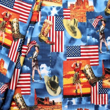 Stretch Baumwollstoff Amerika Multicolor