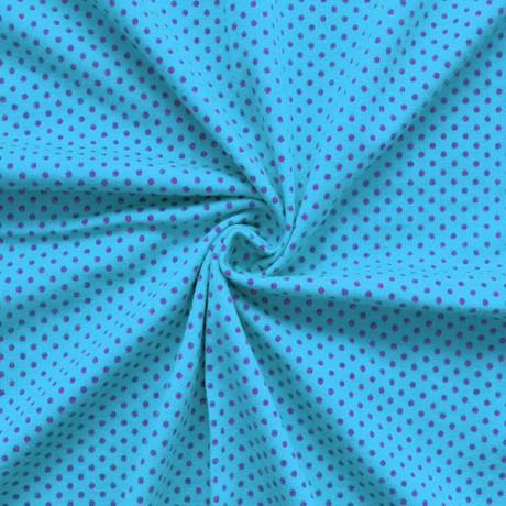 Baumwoll Stretch Jersey Punkte Blau-Pink