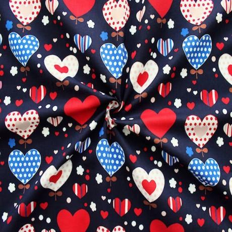 Baumwollstoff Herzen Blau