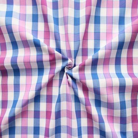 Baumwollstoff Hemden Karo Weiss-Blau-Violett
