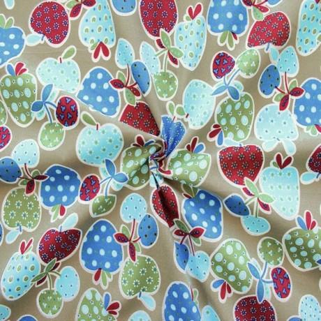 Baumwolle Popeline bedruckt Obst Beige