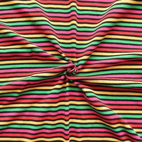 Baumwoll Stretch Jersey Streifen bunt