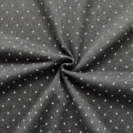 Sweatshirt Baumwollstof Sterne Dunkel-Grau meliert