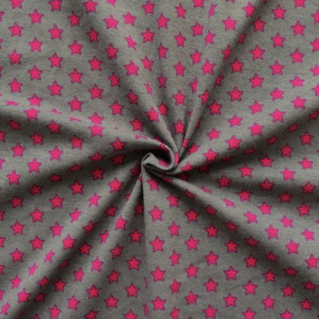 Baumwoll Stretch Jersey Sterne Grau-Pink