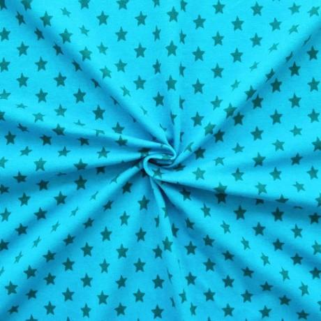 Baumwoll Stretch Jersey Sterne Blau-Petrol