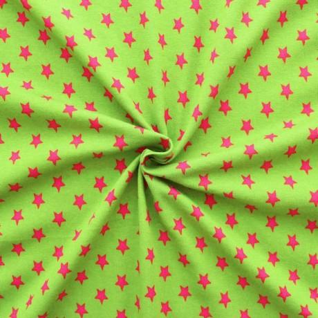 Baumwoll Stretch Jersey Sterne Lind-Grün Pink