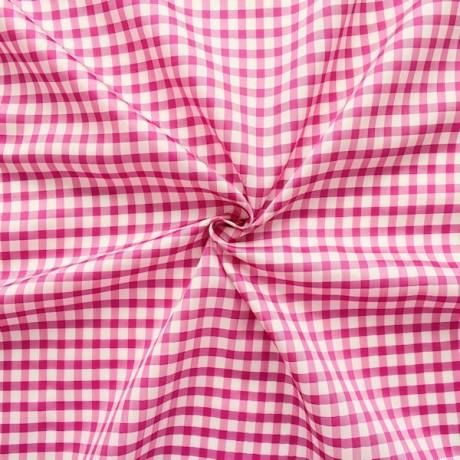 Acetat Futterstoff Karos Pink-Weiss