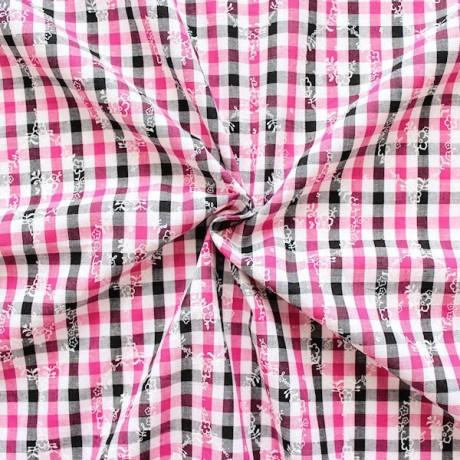 Baumwollstoff Trachten Karo Schwarz-Weiss-Pink