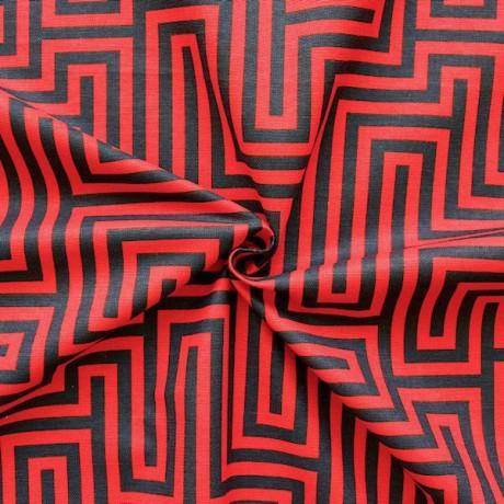 Dekostoff Labyrinth Rot-Schwarz