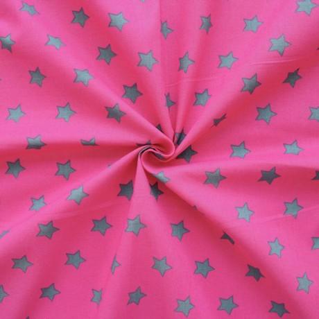 Baumwollstoff Sterne Pink-Grau
