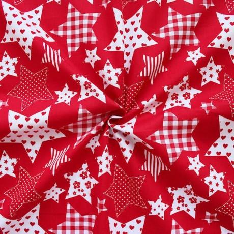 Baumwollstoff  Sterne Rot-Weiss