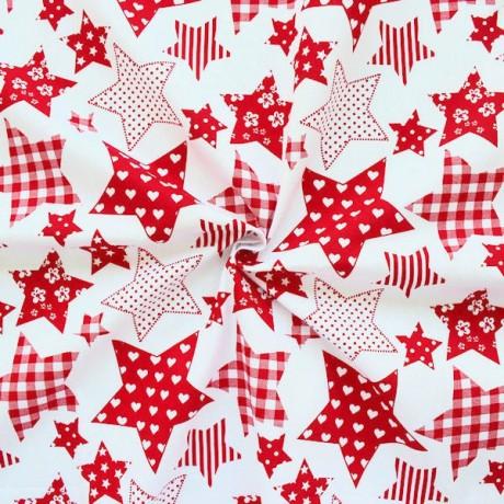 Baumwollstoff Sterne Weiss-Rot