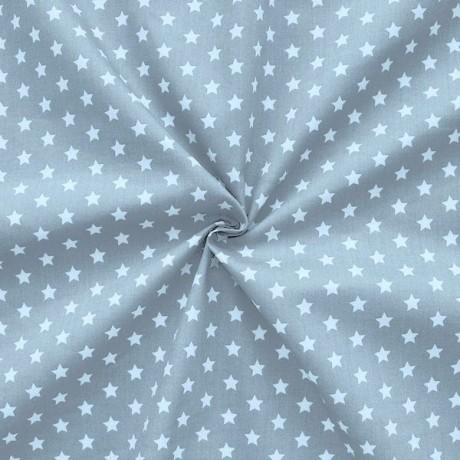 Baumwollstoff Sterne Grau