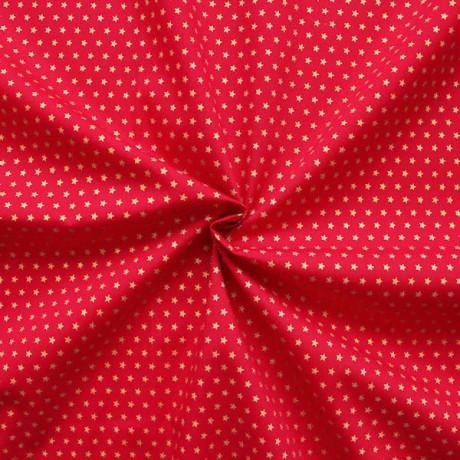 Baumwoll Popeline Sterne Rot