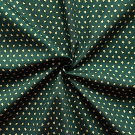Baumwoll Popeline Sterne Dunkel-Grün