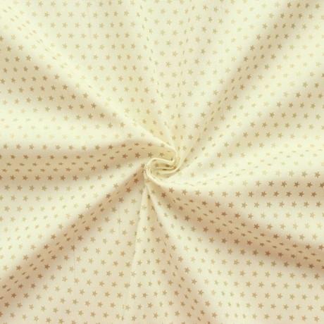 Baumwoll Popeline Sterne Creme-Weiss