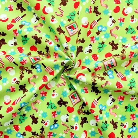 Baumwollstoff Weihnachten Lind-Grün
