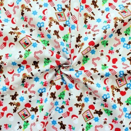 Baumwollstoff Weihnachten Hell-Grau