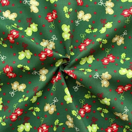 Baumwollstoff Winter Dunkel-Grün