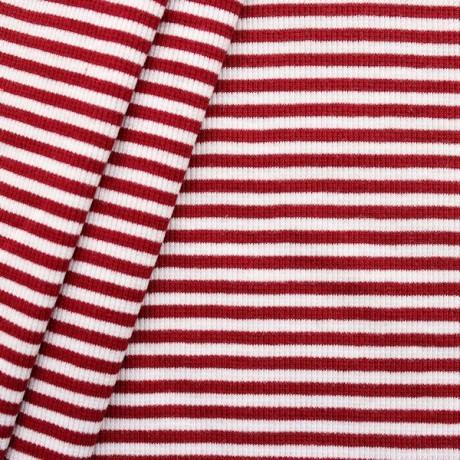 Baumwoll Bündchenstoff Rot-Weiss