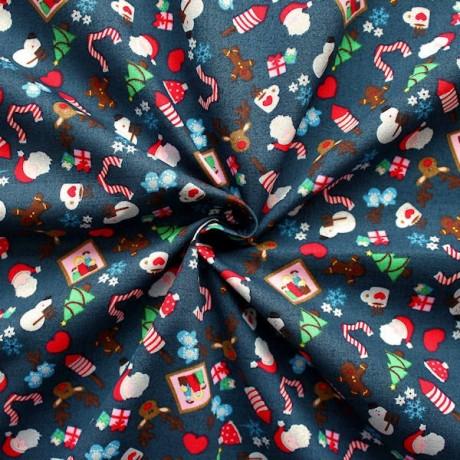 Baumwollstoff Weihnachten Dunkel-Blau
