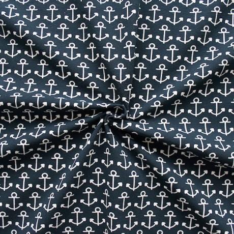 Baumwoll Stretch Jersey Anker Navy-Blau