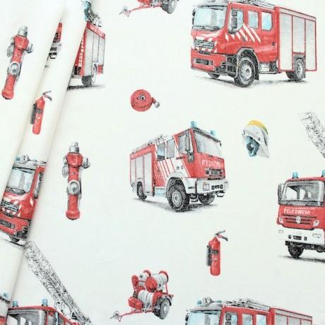 Baumwollstof Feuerwehr Weiss