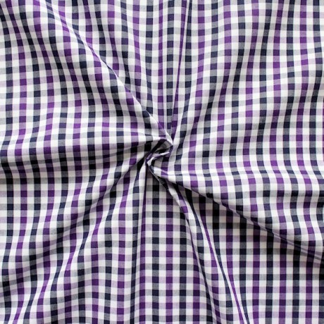 Baumwollstoff Hemden Karo Lila-Weiss-Blau