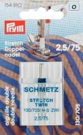 Prym Doppel-Nähmaschinennadel mit Flachkolben für Doppel- und Ziernähte 2,5/75