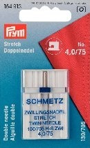 Prym Doppel-Nähmaschinennadel mit Flachkolben für Doppel- und Ziernähte 4,0/75