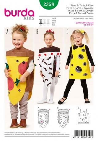 Karnevalskostüm - Pizza - Torte - Käse, Gr. 92 - 122, Schnittmuster Burda 2358