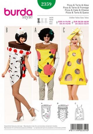 Karnevalskostüm - Pizza - Torte - Käse, Gr. XS - XL, Schnittmuster Burda 2359