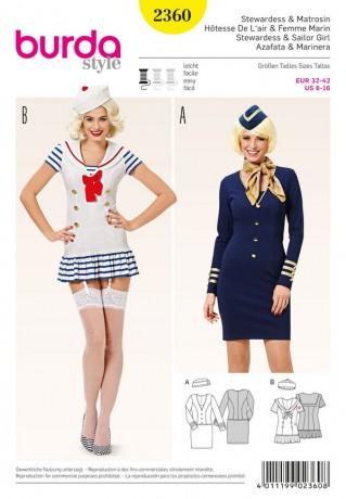 Sexy Uniformkleider - Stewardess – Matrosin, Gr. 32 - 42, Schnittmuster Burda 2360