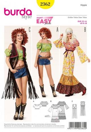 70er-Jahre Kostüm: Stufenkleid - Carmenbluse - Fransenweste, Gr. 32 - 44, Schnittmuster Burda 2362