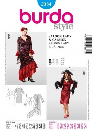 Saloon Lady & Carmen, Gr. 44-60, Schnittmuster Burda 2384