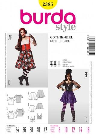Gothik-Girl, Gr. 34-42, Schnittmuster Burda 2385