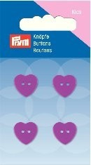 Prym Kids 4 Stück Knöpfe 2- Loch Herz Pink