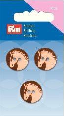 Prym Kids 3 Stück 2- Loch Knöpfe Pferd Braun
