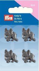 Prym Kids 4 Stück Knopf Ösen Elefant Grau