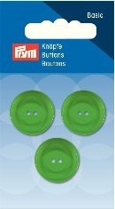 Prym Basic 3 Stück Knöpfe 2- Loch Standard Grün