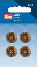 Prym Basic 4 Stück Knöpfe 4- Loch Anzug/Hose Beige-Braun