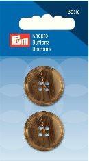 Prym Basic 2 Stück Knöpfe 4- Loch Anzug-/Hosen Beige-Braun