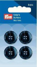 Prym Basic 4 Stück Knöpfe 4- Loch Anzug/Hose Dunkel-Blau