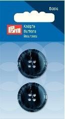 Prym Basic 2 Stück Knöpfe 4- Loch Anzug/Hose Dunkel-Blau