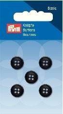 Prym Basic 5 Stück Knöpfe 4- Loch Hemden Schwarz