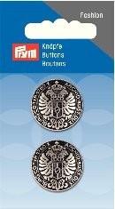 Prym Fashion 2 Stück Knopf Ösen Metall Silber-Schwarz
