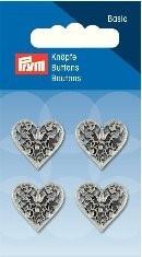 Prym Fashion 4 Stück Knopf Ösen Trachten Herz Silber